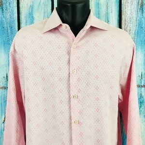 THOMAS PINK Mens 16 1/2 Pink Geometric Dress Shirt